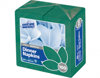 2 Ply Dinner Napkins, RediFold', Pine Green