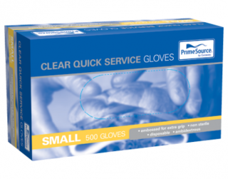 PrimeSource' Quick Service Gloves - Powder Free, Clear - Castaway