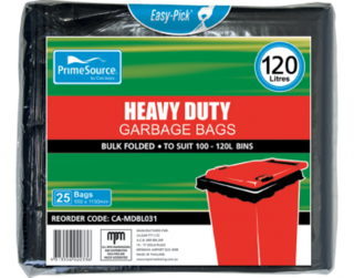 PrimeSource' 120L Heavy Duty Garbage Bags, Pack, Bulk Folded - Castaway