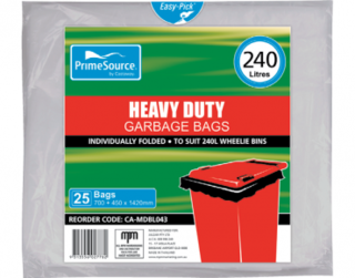PrimeSource' 240L Wheelie Bin Bags, Individually Folded - Castaway