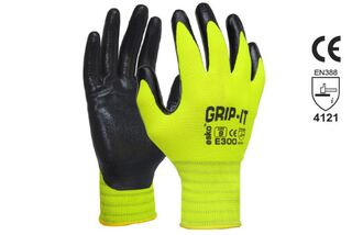 GRIP-IT' Black nitrile palm coating with Hi-vis nylon liner - Esko