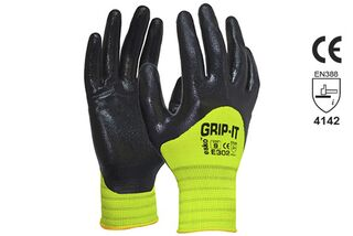GRIP-IT' Black nitrile 3/4 dip coating with Hi-vis nylon liner - Esko