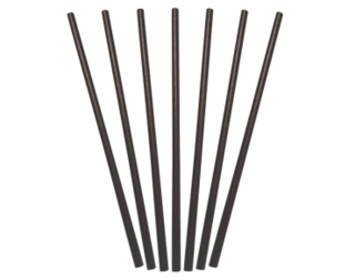 Paper Regular Straws, Black (205 x 6 mm) - Castaway