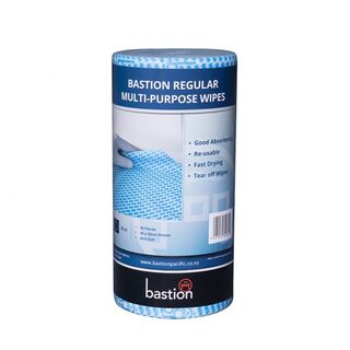 Bastion Regular Duty Wipes On A Roll - Blue - UniPak