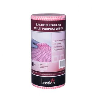 Bastion Regular Duty Wipes On A Roll - Red - UniPak