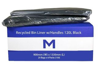 Bin Liner 120L Black with handles - Matthews