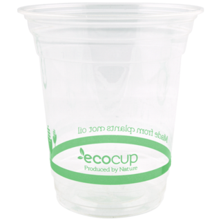 420ml Clear Cold Cup PLA Green Logo Pack 50 - Ecoware