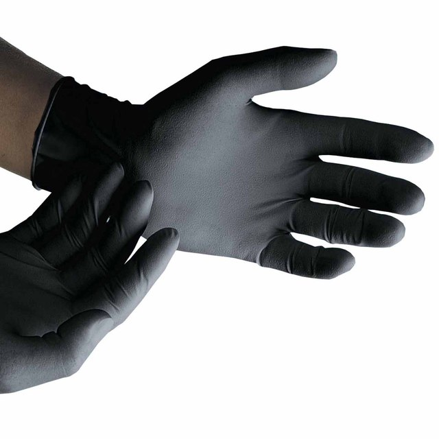 Selfgard Black Nitrile Gloves Powderfree