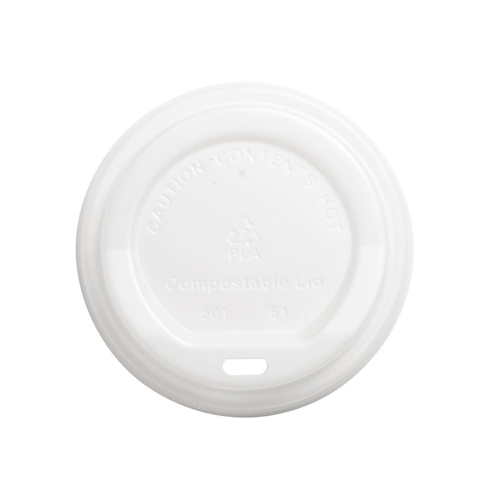 Lid for 8oz Hot Cup Compostable White 80mm - Ecoware