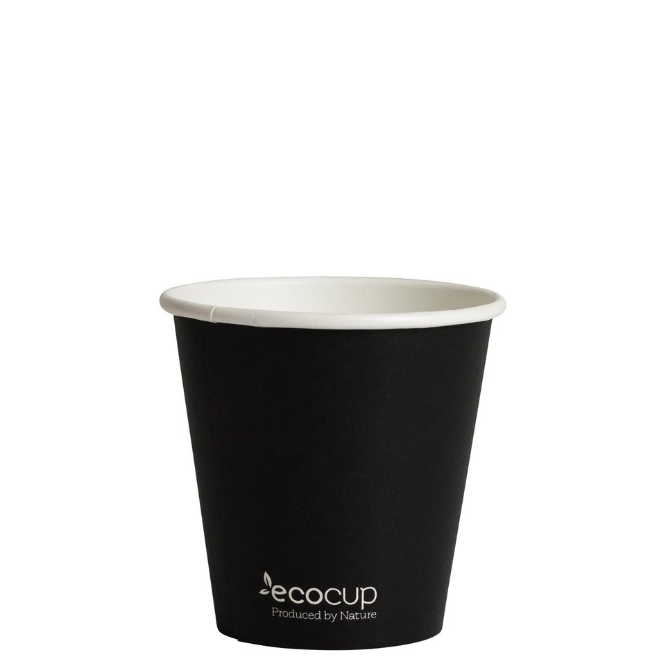 Hot Cup PLA Single Wall 6oz Black 80mm - Ecoware
