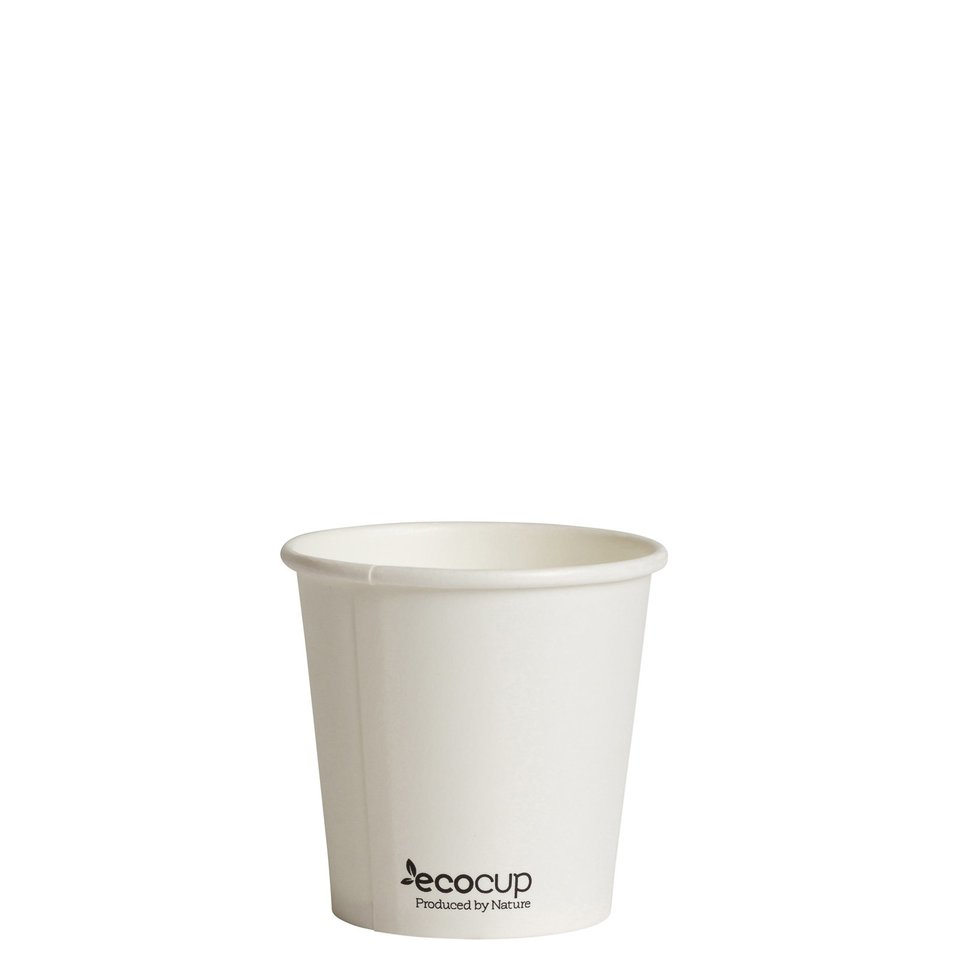 Hot Cup PLA Single Wall 4oz White 60mm - Ecoware - Pack 50