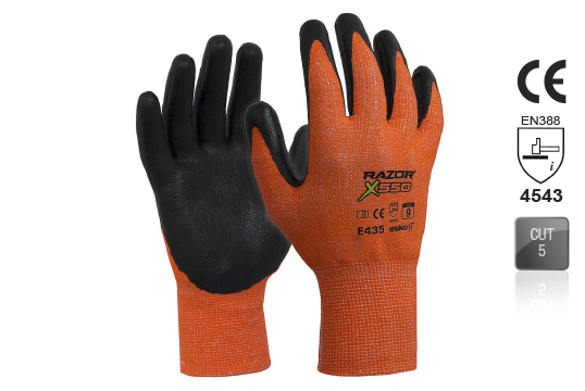 RAZOR X550 Nitrile coated Cut Resistant Level5 Orange SIZE 9 - Esko