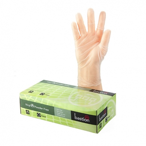 Vinyl PowderFree Clear Gloves SMALL - Bastion