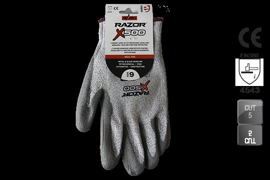 RAZOR X500 PU coated Cut Resistant Level 5 HPPE Fibre Liner Header Card, Size 11 - Esko