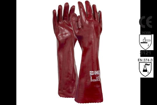 PVC Single Dipped Gauntlet Glove 45cm - Esko Red Shield