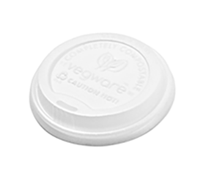 Hot Cup Lid 8oz 79mm CPLA (Fits 8oz Cup) - Vegware - Pack & Carton