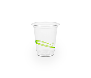 Cold Cup PLA Slim 7oz 220ml Green Stripe - Vegware