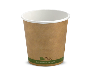 4oz Coffee Cups Kraft Green Stripe Single Wall - BioPak