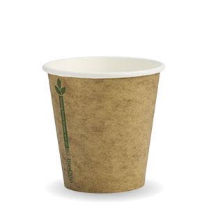 6oz Coffee Cups Kraft Green Line (80mm) Single Wall - BioPak