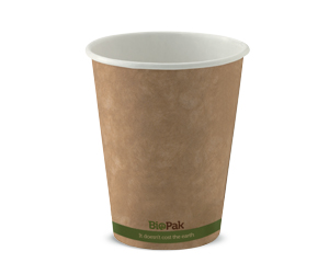 8oz Coffee Cups Kraft Green Stripe (80mm) Single Wall - BioPak