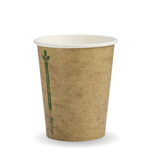 8oz Coffee Cups Kraft Green Line (80mm) Single Wall - BioPak