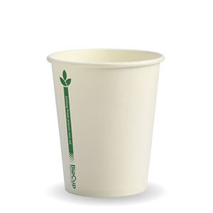 8oz Coffee Cups White Green Line (80mm) Single Wall - BioPak