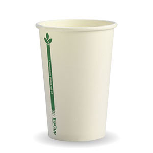 10oz Coffee Cups White Green Line (80mm) Single Wall - BioPak