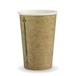 10oz Coffee Cups Kraft Green Line (80mm) Single Wall - BioPak