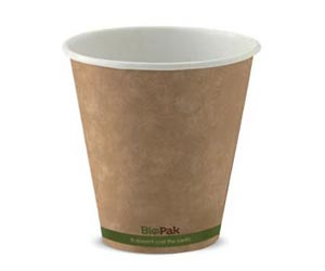 8oz Coffee Cups Kraft Green Stripe (90mm) Single Wall - BioPak
