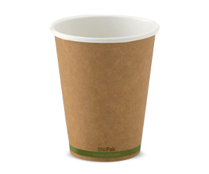 12oz Coffee Cups Kraft Green Stripe (90mm) Single Wall - BioPak