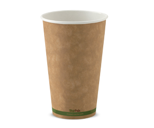 16oz Coffee Cups Kraft Green Stripe (90mm) Single Wall - BioPak