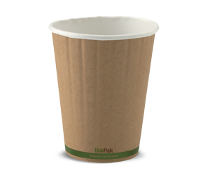 12oz Coffee Cup Kraft Green Stripe (90mm) Double Wall - BioPak