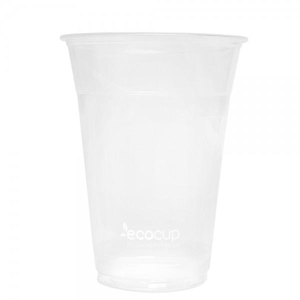 500ml Clear Cold Cup PLA White logo - Ecoware