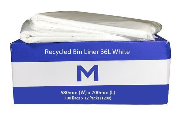 Office Bin Liner Large 36L White