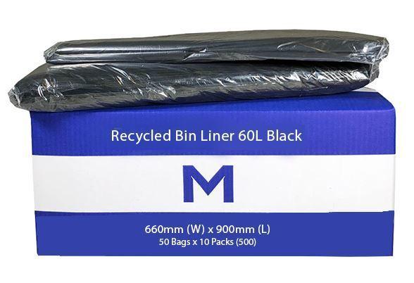 Rubbish Bag Bin Liner 60L Black