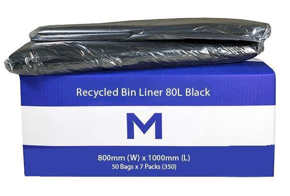 Rubbish Bag Bin Liner 80L Black - Matthews