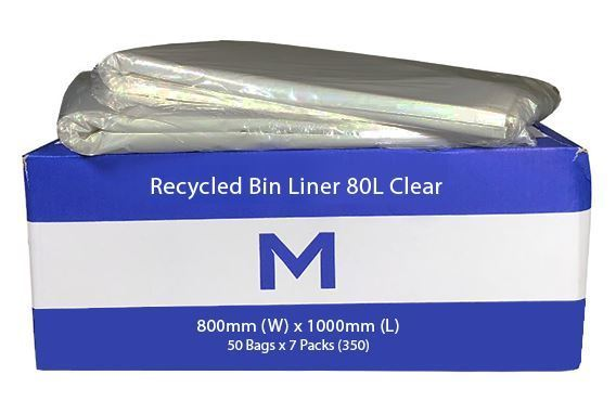 Rubbish Bag Bin Liner 80L Clear
