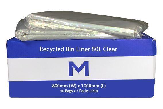 Rubbish Bag Bin Liner 80L Clear - Matthews