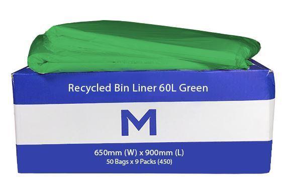 Rubbish Bag Bin Liner 60L Green