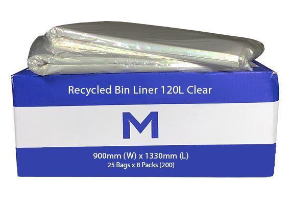 Small Wheelie Bin Liner 120L Clear