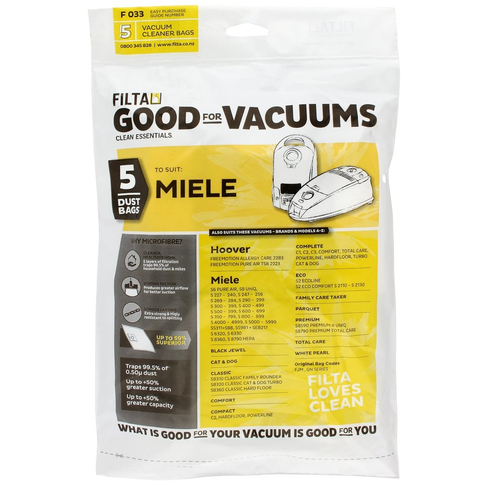 MIELE BLACK JEWEL F033 MICROFIBRE VACUUM CLEANER BAGS 5 PACK - Filta
