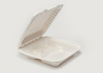 Clam Tray Sugar Cane 20 x 21 cm 3 Comp - Vegware - Pack & Carton