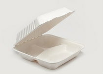Clam Tray Sugar Cane 23x23cm 3comp - Vegware - Pack & Carton
