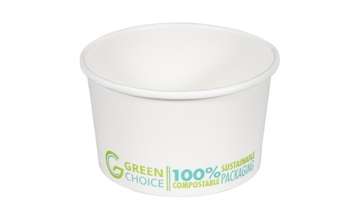 Dessert Tub WHITE PLA - 8oz Carton  1000    - Green Choice