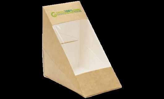 Sandwich Box KRAFT PLA - Medium Carton  500    - Green Choice