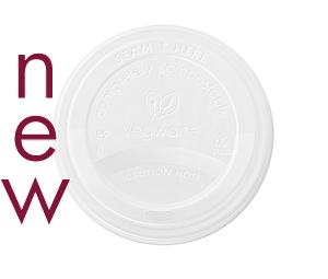 89mm CPLA hot cup lid (fits 10-20oz cups) - Vegware - Pack & Carton
