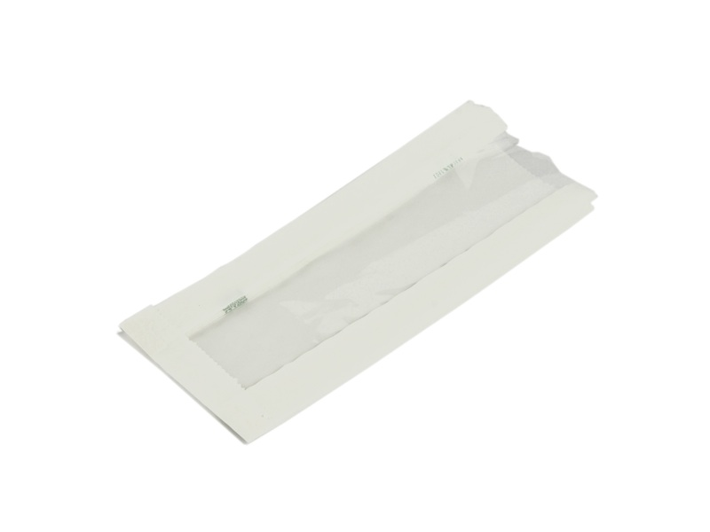 White glassine NatureFlex window hot bag 10x15x25cm  - Vegware