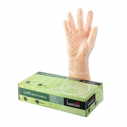 Bastion Vinyl Powdered Clear Gloves - UniPak
