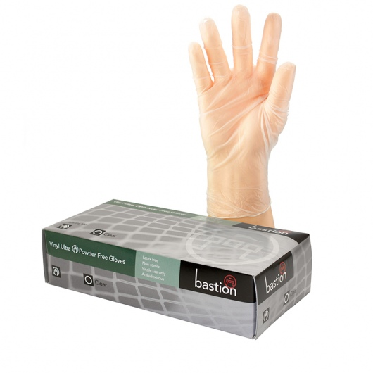 Vinyl Ultra PowderFree Clear Gloves - Bastion