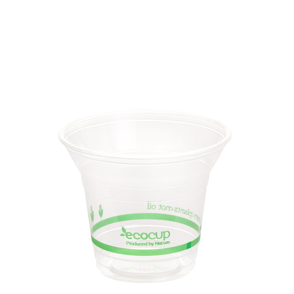 300ml Clear Cold Cup PLA Green logo - Ecoware